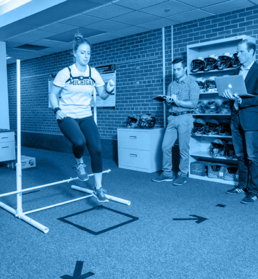 Women going through exercises for concussion research