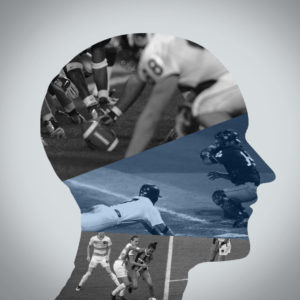 Human head silhouette with pictures of athletes playing sports filling it